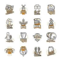 Set of icons about craft beer vector