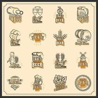 Craft beer icons set vector