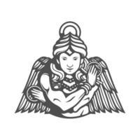 Stylized Goddess Ishtar Black and White on White Background vector