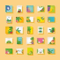 set di modelli di estate con fiori