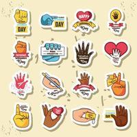 set di icone della celebrazione del giorno mancino internazionale