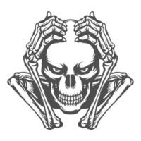 cráneo blanco y negro sosteniendo la cabeza