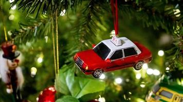 Red taxi Christmas ornament