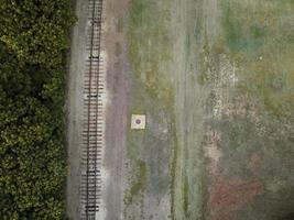 Aerial view of train tracks photo