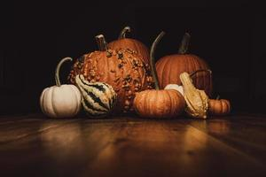 Assortment of orange and white pumpkins