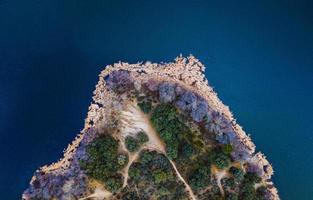 Bird's eye photography of island