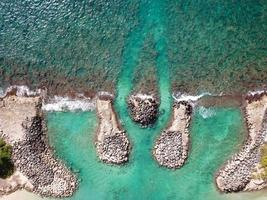 Aerial photography of shore and rocks