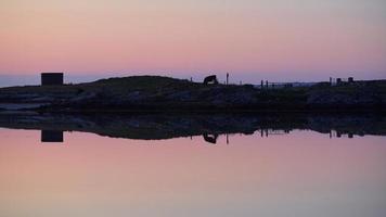 Silhouette of farm field