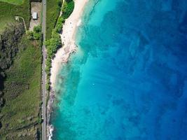 Aerial view of ocean and shore