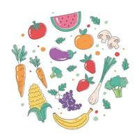 alimentos orgánicos saludables con frutas y verduras frescas