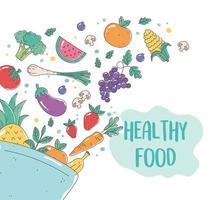 tazón de comida orgánica saludable con frutas y verduras frescas