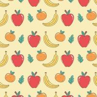 Patrón de comida saludable con naranjas, manzanas y plátanos.