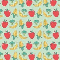 patrón de comida saludable con manzanas, plátanos, brócoli y maíz