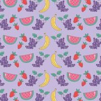 Healthy food pattern with watermelon, grapes, bananas and strawberries vector