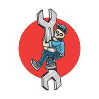 Car Repair Human Skeleton Climbing Wrench vector