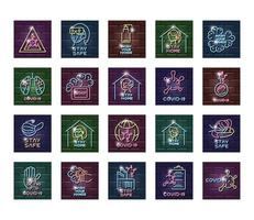 Set of COVID 19 prevention neon light icons