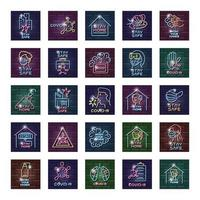set di icone di coronavirus alla luce al neon