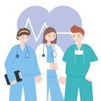 trabajadores de la salud frente a un corazón electrocardiográfico