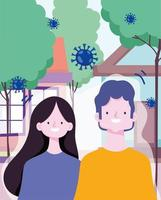 hombre y mujer al aire libre durante el brote de coronavirus