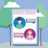 personaggi che si connettono tramite distanza sociale su tablet all'aperto