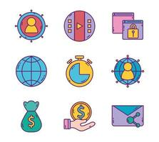 Set of business strategy and digital marketing icons vector