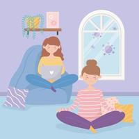 Girls at home doing quarantine activities together vector