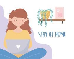 Woman using laptop at home greeting card vector