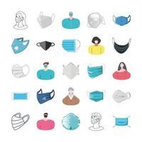 Conjunto de iconos de máscaras y personas que usan máscaras.