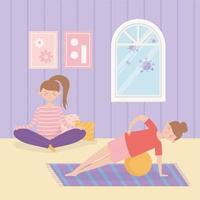 Women practicing yoga together at home vector