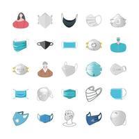 set di icone di maschere e persone che indossano maschere
