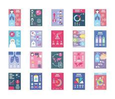 colección de iconos de infografías de salud