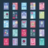 conjunto de iconos sobre infografías de salud