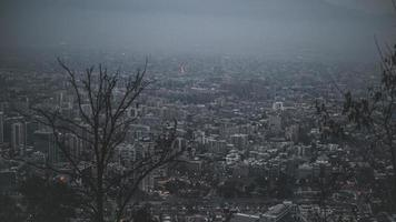 Aerial view of foggy city