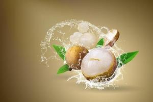 Water splashing on fresh longan fruit