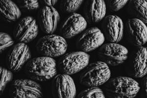 A black and white shot of some nuts