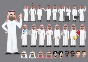 Saudi Arab businessman cartoon character set vector