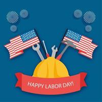 Happy labor day festival banner with hat, tools and flags