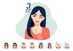 Cartoon character thinking lady set vector