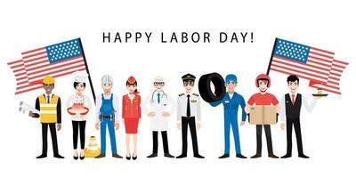 Labor Day design with professional works and flags vector