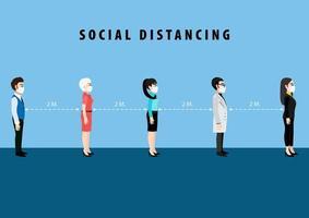 cartel de distanciamiento social de personaje de dibujos animados vector