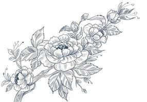 Sketchy decorative floral design vector
