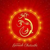 tarjeta cuadrada roja y dorada del festival de ganesh chaturthi