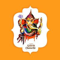 Colorful watercolor Lord Ganesha chaturthi festival card