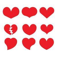conjunto de iconos de corazón rojo
