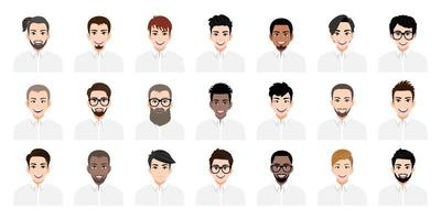 Young men cartoon set with different hairstyles