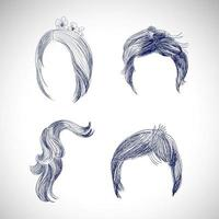 Set of 4 different sketch hairstyles