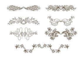 Beautiful hand drawn wedding ornament floral set design