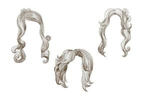 Set of different hand drawn hairstyles