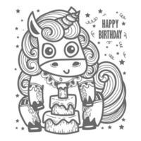 Precioso unicornio con tarta tarjeta de feliz cumpleaños