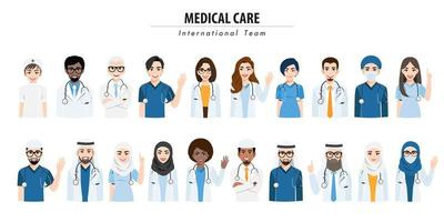 International nedical team and staff set vector